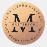 Monogram Copper Circular Return Address Label Classic Round Sticker