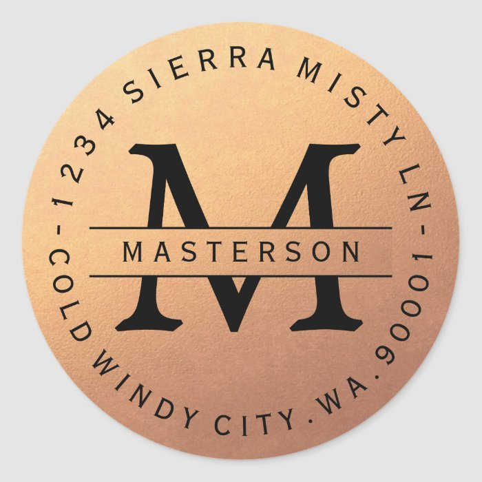 Monogram Copper Circular Return Address Label Classic
