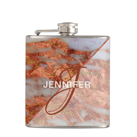 Monogram Copper Marble Geometric Bridesmaid Flask