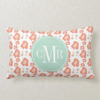 Monogram Coral and Aqua Leopard Print Lumbar Pillow