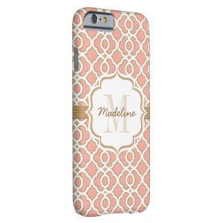 Monogram Coral and Gold Quatrefoil Barely There iPhone 6 Case