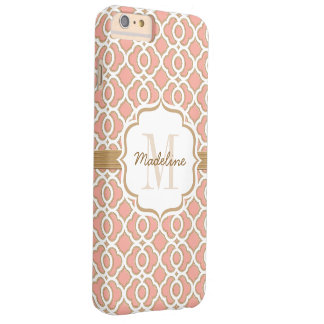Monogram Coral and Gold Quatrefoil Barely There iPhone 6 Plus Case