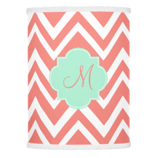 Monogram Coral and White Chevron with Mint Green Lamp Shade