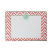 Monogram Coral and White Chevron with Mint Green Post-it Notes