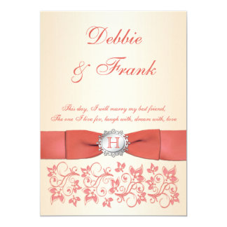 Monogram Coral Champagne Floral Wedding Invitation