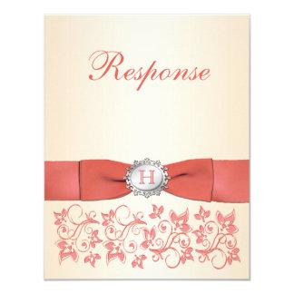 Monogram Coral Champagne Floral Wedding RSVP Card