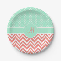 Monogram Coral Chevron with Mint Polka Dot Pattern Paper Plate