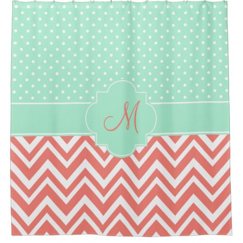 Monogram Coral Chevron with Mint Polka Dot Pattern Shower Curtain
