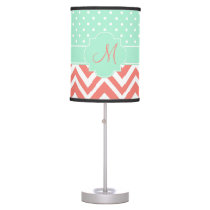 Monogram Coral Chevron with Mint Polka Dot Pattern Table Lamp