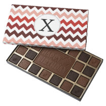 Monogram Coral Chevron ZigZag Pattern Assorted Chocolates