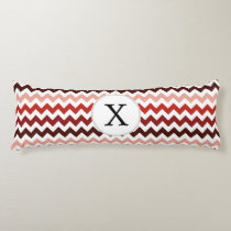 Monogram Coral Chevron ZigZag Pattern Body Pillow