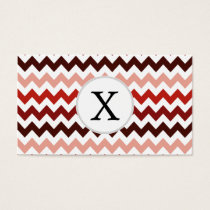Monogram Coral Chevron ZigZag Pattern Business Card