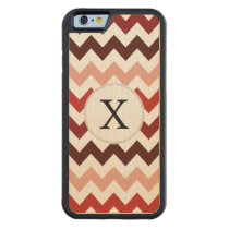 Monogram Coral Chevron ZigZag Pattern Carved Maple iPhone 6 Bumper Case