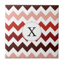 Monogram Coral Chevron ZigZag Pattern Ceramic Tile