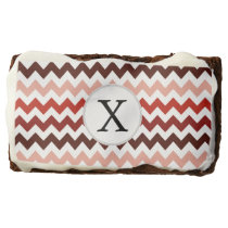 Monogram Coral Chevron ZigZag Pattern Chocolate Brownie