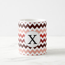 Monogram Coral Chevron ZigZag Pattern Coffee Mug