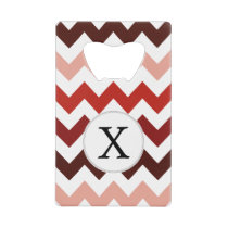 Monogram Coral Chevron ZigZag Pattern Credit Card Bottle Opener