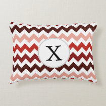 Monogram Coral Chevron ZigZag Pattern Decorative Pillow