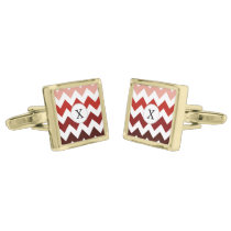 Monogram Coral Chevron ZigZag Pattern Gold Cufflinks