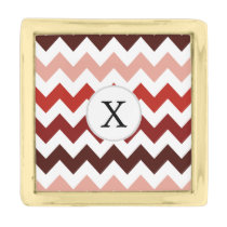 Monogram Coral Chevron ZigZag Pattern Gold Finish Lapel Pin