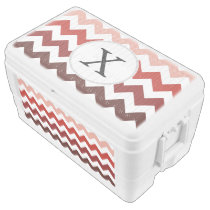 Monogram Coral Chevron ZigZag Pattern Ice Chest