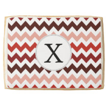 Monogram Coral Chevron ZigZag Pattern Jumbo Shortbread Cookie