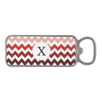 Monogram Coral Chevron ZigZag Pattern Magnetic Bottle Opener