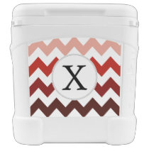 Monogram Coral Chevron ZigZag Pattern Rolling Cooler