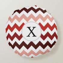 Monogram Coral Chevron ZigZag Pattern Round Pillow