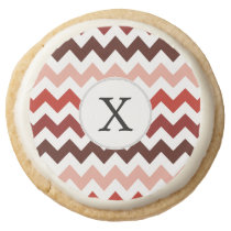 Monogram Coral Chevron ZigZag Pattern Round Shortbread Cookie