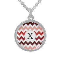 Monogram Coral Chevron ZigZag Pattern Sterling Silver Necklace