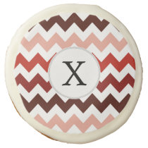 Monogram Coral Chevron ZigZag Pattern Sugar Cookie