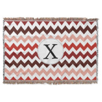 Monogram Coral Chevron ZigZag Pattern Throw