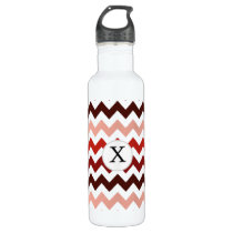 Monogram Coral Chevron ZigZag Pattern Water Bottle