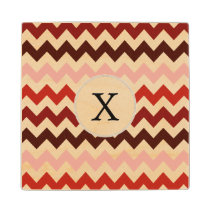 Monogram Coral Chevron ZigZag Pattern Wooden Coaster