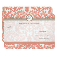 Monogram Coral & Gray Damask  Wedding RSVP Card