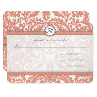 Monogram Coral & Gray Damask  Wedding RSVP Card