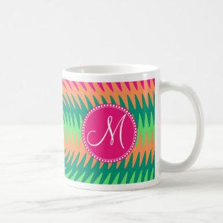 Monogram Coral Hot Pink Green Ripples Waves Design Coffee Mug