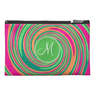 Monogram Coral Hot Pink Green Whirlpool Swirl Travel Accessory Bag