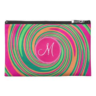 Monogram Coral Hot Pink Green Whirlpool Swirl Travel Accessories Bag