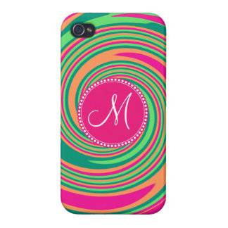 Monogram Coral Hot Pink Green Whirlpool Swirl Case For iPhone 4