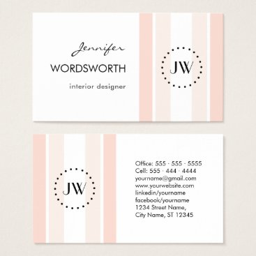 Professional Business Monogram Coral Pastel Professional Business Card