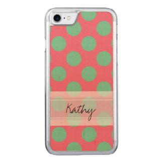 Monogram Coral Pink Aloe Green Polka Dot Pattern Carved iPhone 7 Case