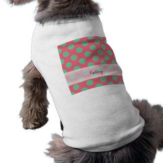 Monogram Coral Pink Aloe Green Polka Dot Pattern Dog Clothes