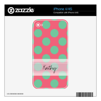 Monogram Coral Pink Aloe Green Polka Dot Pattern iPhone 4 Decal