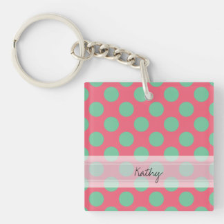 Monogram Coral Pink Aloe Green Polka Dot Pattern Keychain