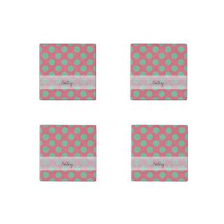 Monogram Coral Pink Aloe Green Polka Dot Pattern Stone Magnet