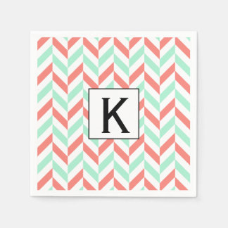 Monogram Coral Pink and Mint Green Herringbone Paper Napkin