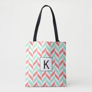 Monogram Coral Pink and Mint Green Herringbone Tote Bag