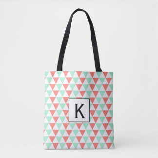 Monogram Coral Pink and Mint Green Triangles Tote Bag